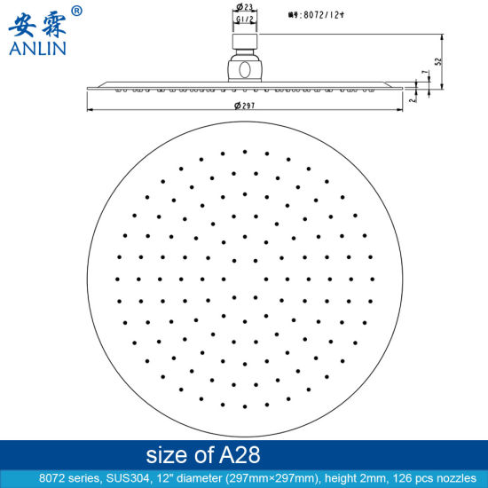 Large Stainless Steel Round Rainfall Overhead Shower